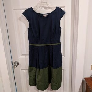 Color block navy/olive cap sleeve fit and flare